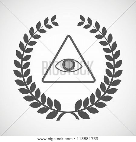 Isolated Laurel Wreath Icon With An All Seeing Eye