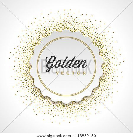 Gold Glitter Sparkles Bright Confetti White Paper Label Frame Vector Background