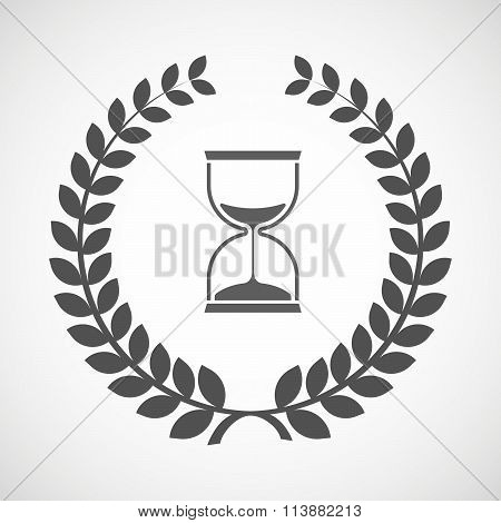 Isolated Laurel Wreath Icon With A Sand Clock