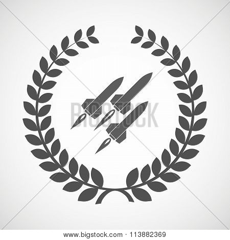 Isolated Laurel Wreath Icon With Missiles