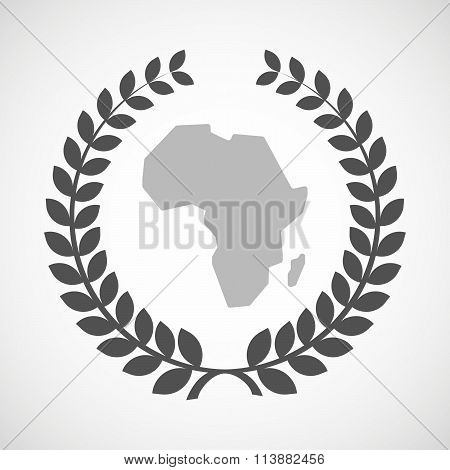 Isolated Laurel Wreath Icon With  A Map Of The African Continent