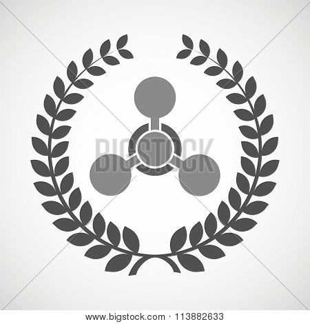 Isolated Laurel Wreath Icon With A Chemical Weapon Sign