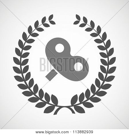 Isolated Laurel Wreath Icon With A Toy Crank