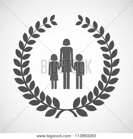 Isolated Laurel Wreath Icon With A Female Single Parent Family Pictogram