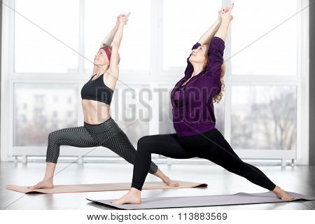 Senior Women Doing Warrior 1 Pose