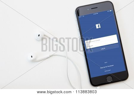 Bangkok, Thailand - Jan 5, 2016 : Facebook Application On Iphone Operation, Facebook Is Social Netwo