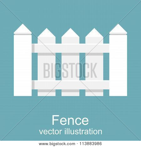 White Wooden Fence. Picket White Isolated
