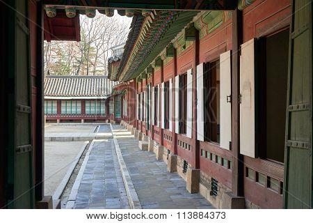 Opened Doors Of A Building In Changdeokgung.