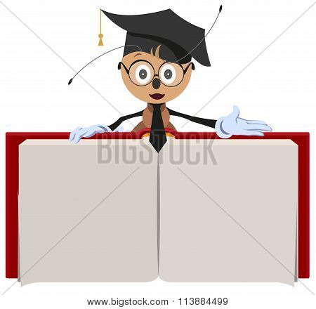 Ant teacher holding open book