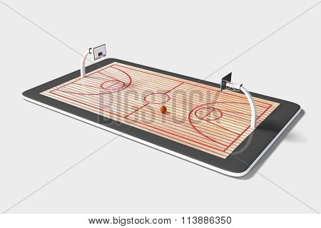 Concept Of Computer Games In Basketball At Digital Tablet