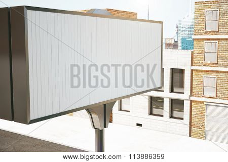Big Blank Billboard On The Background Of The Buildings, Mock Up