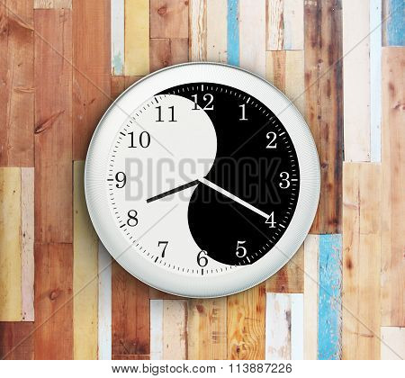 Wall Clock With A Yin Yang Symbol