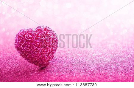 Glittering Heart Shaped On Pink Background
