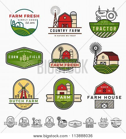 Vintage Modern Farm Logo Template