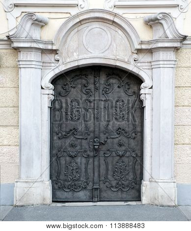 Old Double Carved Metal Austrian Door