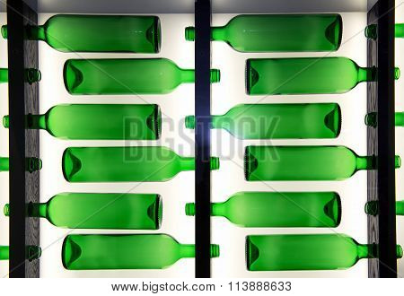Decorative Pattern Of Green Glass Bottles