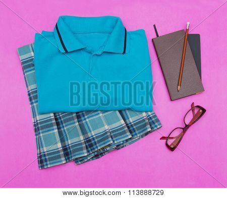 Outfit Of Student.different Objects On Color Background.