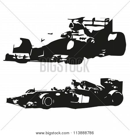 Formula Racing Car. Vector Drawing, Isolated Silhouette