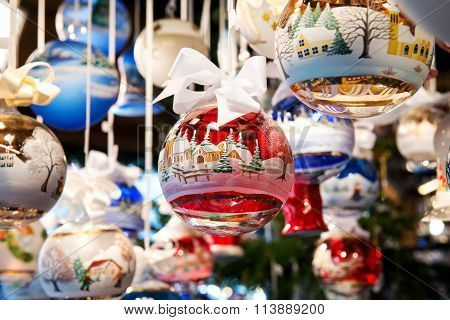 Colorful Red Christmas Tree Bauble Or Ball