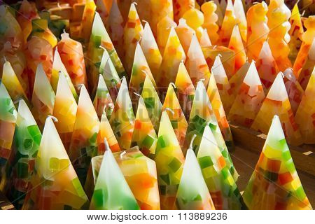 Display Of Cone Shaped Colorful Wax Candles
