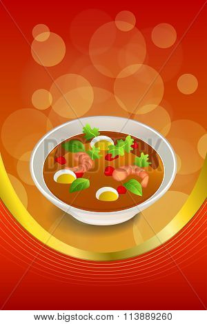 Abstract background food sea Thai soup red green yellow shrimp egg gold ribbon frame vertical