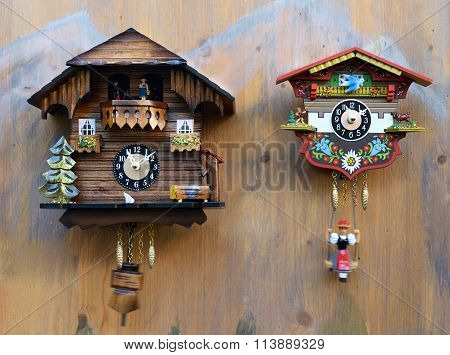 Traditional colorful wooden cuckoo clocks stock photo stock images bigstock - Colorful cuckoo clock ...