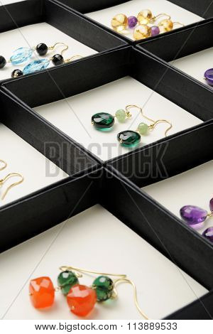 Display Af Handmade Gemstone Earrings
