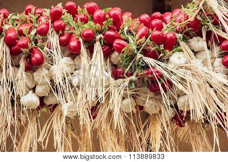 Garlic And Cherry Tomatoes At The Marketplace