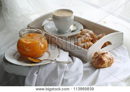 Cappuccino With Eclairs And Orange Confiture