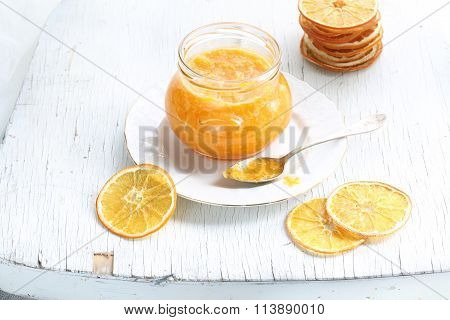 Orange Confiture In A Glass Jar