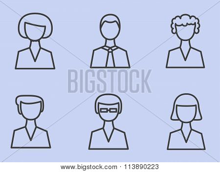 Set Linear Icons Man, People, User. Vector Illustration.