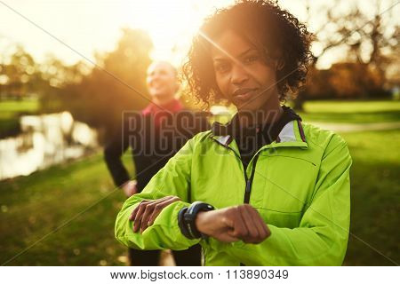 Portrait Of Young Afro-american Sportswoman Looking At Camera