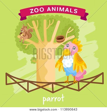 Vector Zoo Animal, Parrot