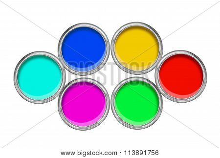 Open Tin Cans With Paint Isolated On White