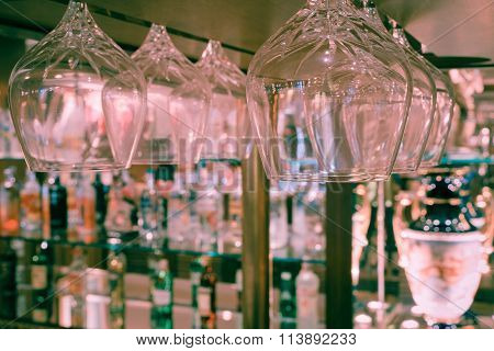 Whiskey Glass And Bottles Of Whiskey At The Bar , Vintage Style
