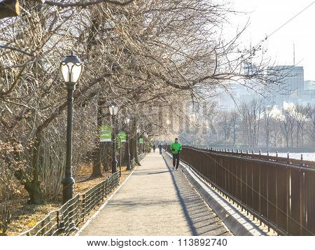 NEW YORK USA - JANUARY 5 2015: In New York Central Park is the place where runners enjoy of their sport. Central Park is an urban park in middle-upper Manhattan opened in 1857.