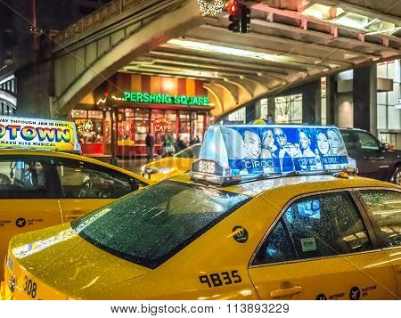 Taxis In Pershing Square