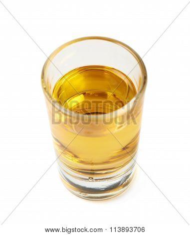 Shot of whiskey bourbon isolated