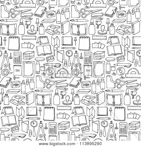 Hand drawn Office seamless pattern