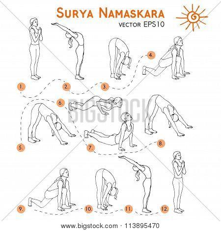 Surya Namaskara. Yoga set.