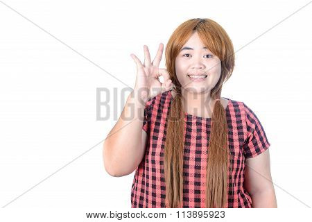 Asian Plump Woman May Making Ok Sign, Isolated On White Background.