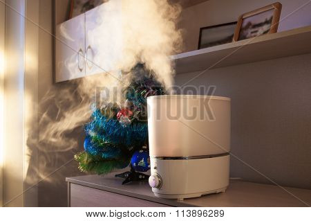 Humidifier Spreading Steam In Morning Light Near Artificial Christmas Pine Tree