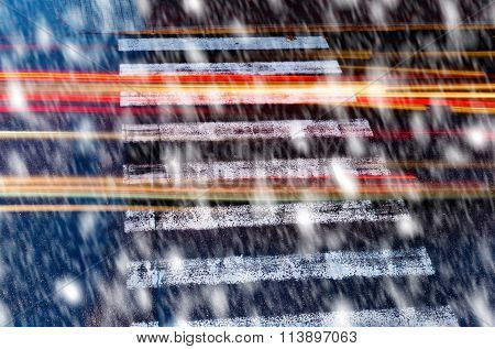 Pedestrian Crossin In The Snowfall