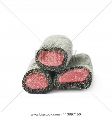 Black and pink candy isolated