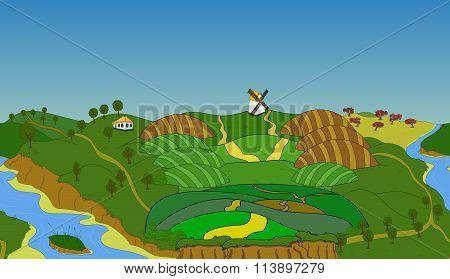 Seamless cartoon landscape, vector background