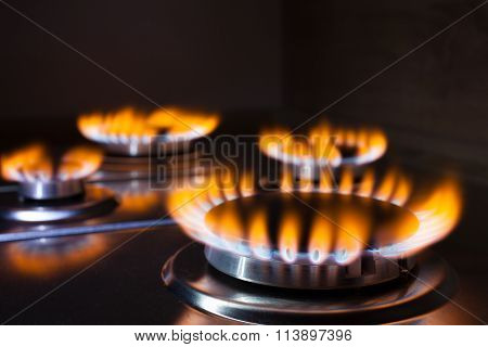 Orange Flame At Gas Stove