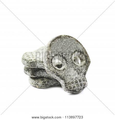 Skull shaped licorice candy