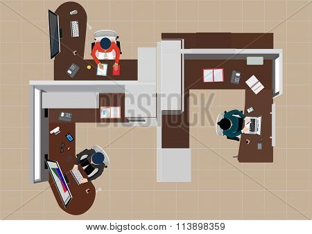 workday in an office building. People in the interior of the building in different poses and situati