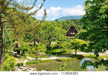 Historic Japanese village Shirakawa-go in summer