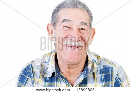 Happy Mexican Man With Mustache And Flannel Shirt
